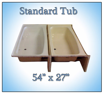 Bath tubs and showers for mobile home manufactured housing for Garden tub dimensions