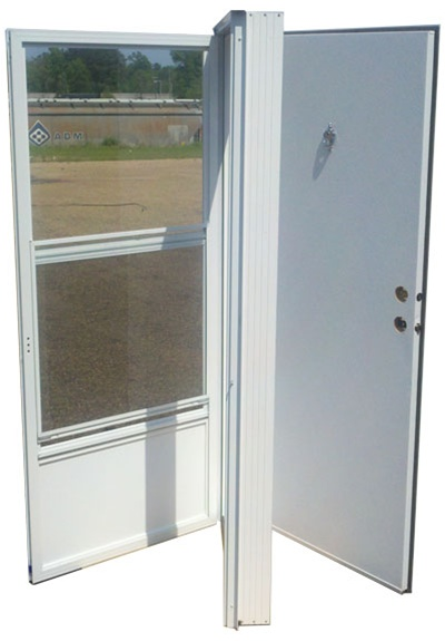 38x80 Aluminum Solid Door With Peephole RH For Mobile Home Manufactured Housing