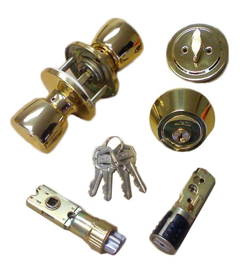 Brass combination door lock set for mobile home for Door handle with lock