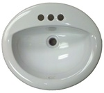 "17"" x 20"" Oval White Ceramic Sink for Mobile Home Manufactured Housing"