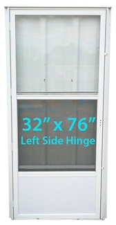Mobile Home Standard Storm Door 32x76 Lh White With Screen