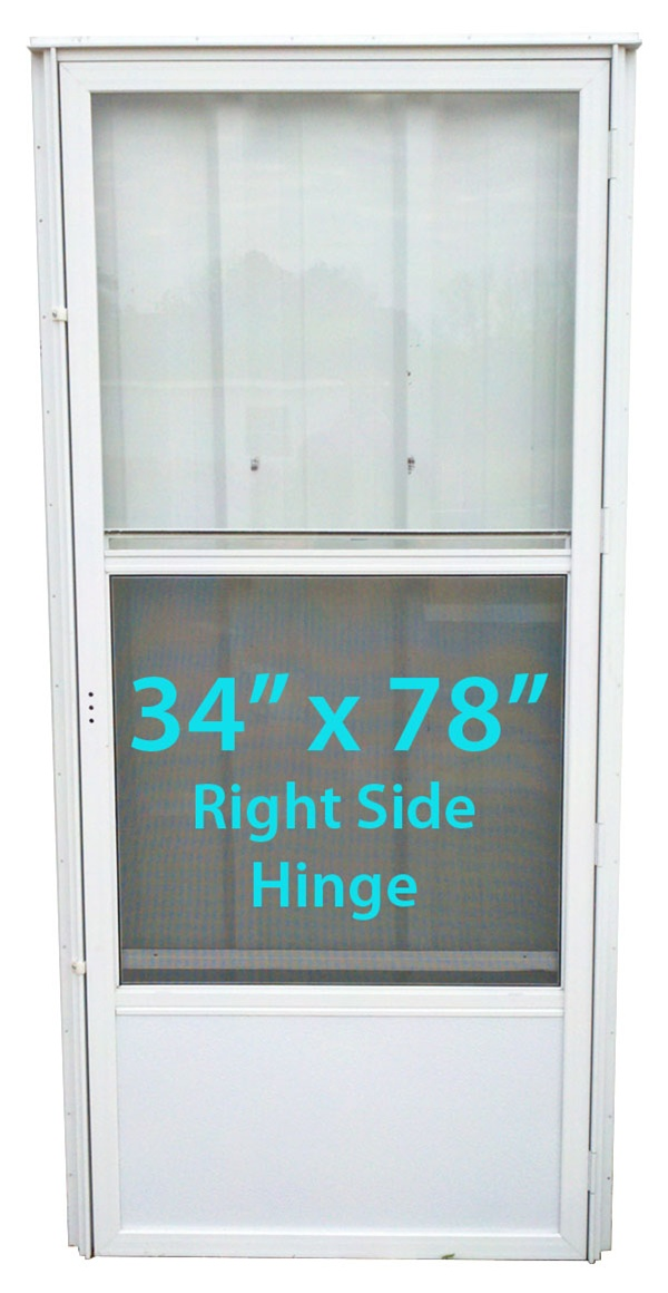 Mobile Home Standard Storm Door 34x78 Rh White With Screen
