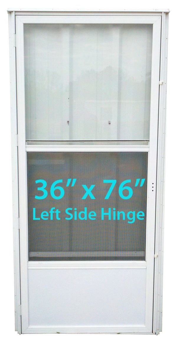 Mobile Home Standard Storm Door 36x76 Lh White With Screen