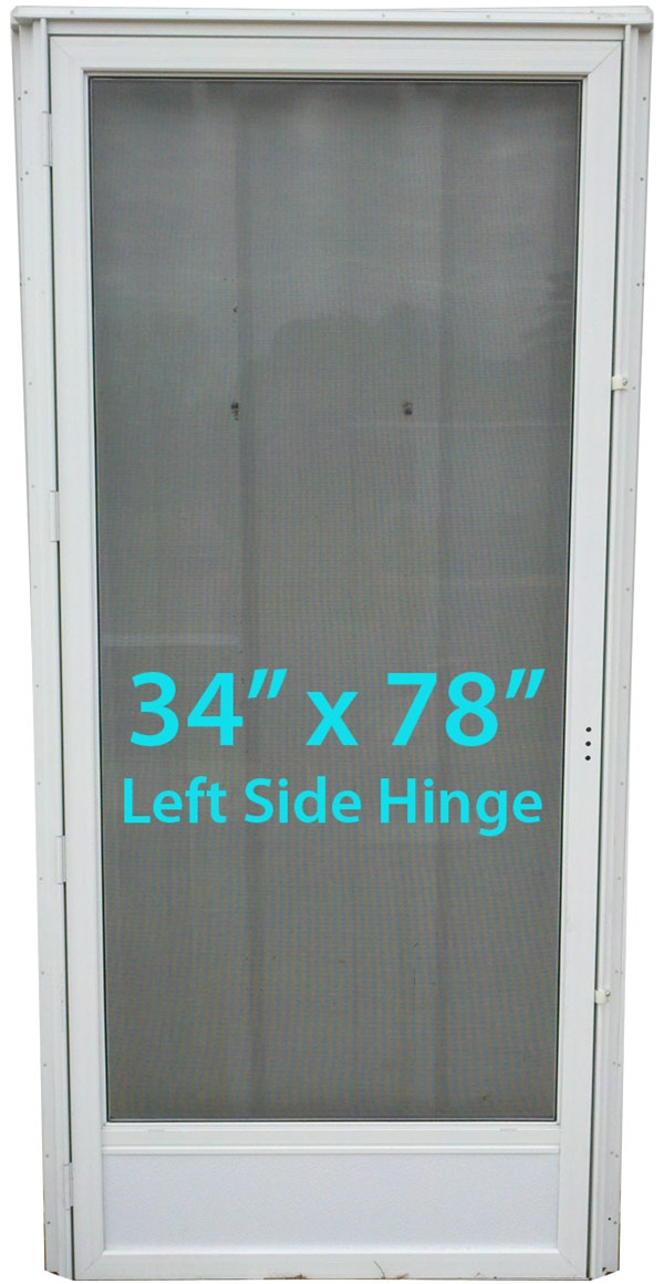 Mobile Home Full View Storm Door 34x78 Lh White With Screen