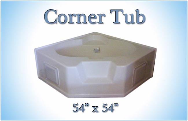 54 x 54 fiberglass replacement corner tub for Corner garden tub dimensions