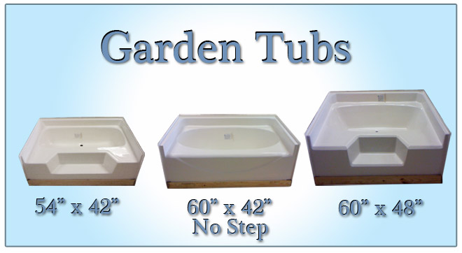 Bath tubs and showers for mobile home manufactured housing for Garden tub sizes