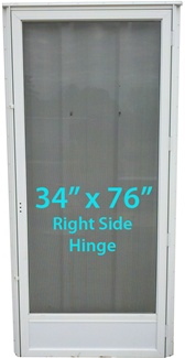 Mobile Home Full View Storm Door 34x76 Rh White With Screen
