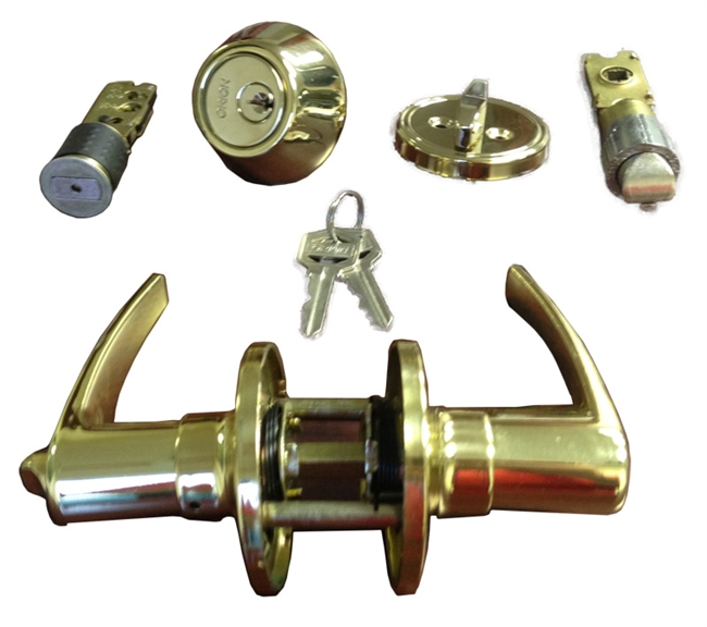 Brass Combination Lever Lock Set For Mobile Home