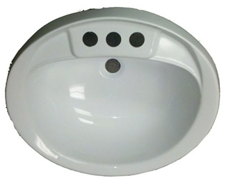 "17"" x 20"" Oval White Plastic Sink for Mobile Home Manufactured Housing"
