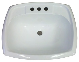 "17"" x 20"" Rectangle White Plastic Sink for Mobile Home Manufactured Housing"