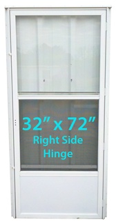 Mobile Home Standard Storm Door 32x72 Rh White With Screen