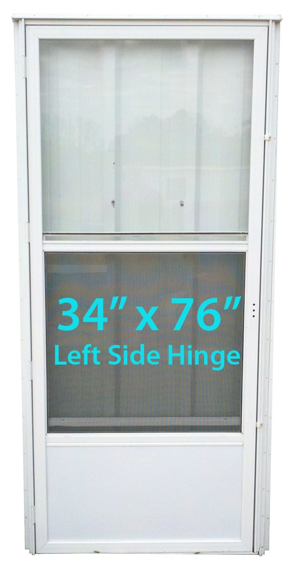 Mobile Home Standard Storm Door 34x76 Lh White With Screen