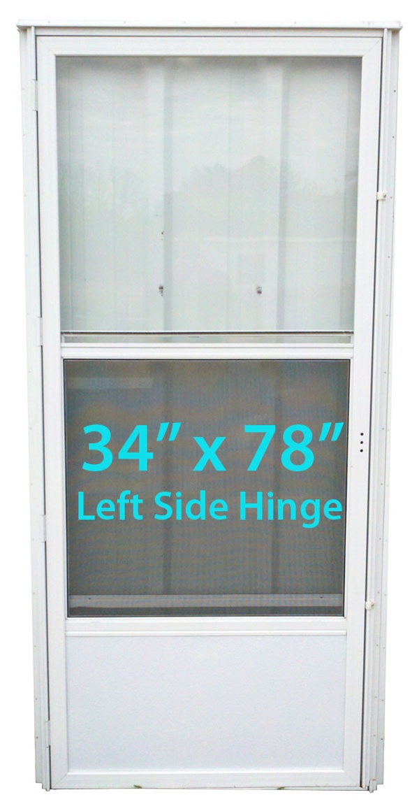 Mobile home standard storm door 34x78 lh white with screen for Storm door prices