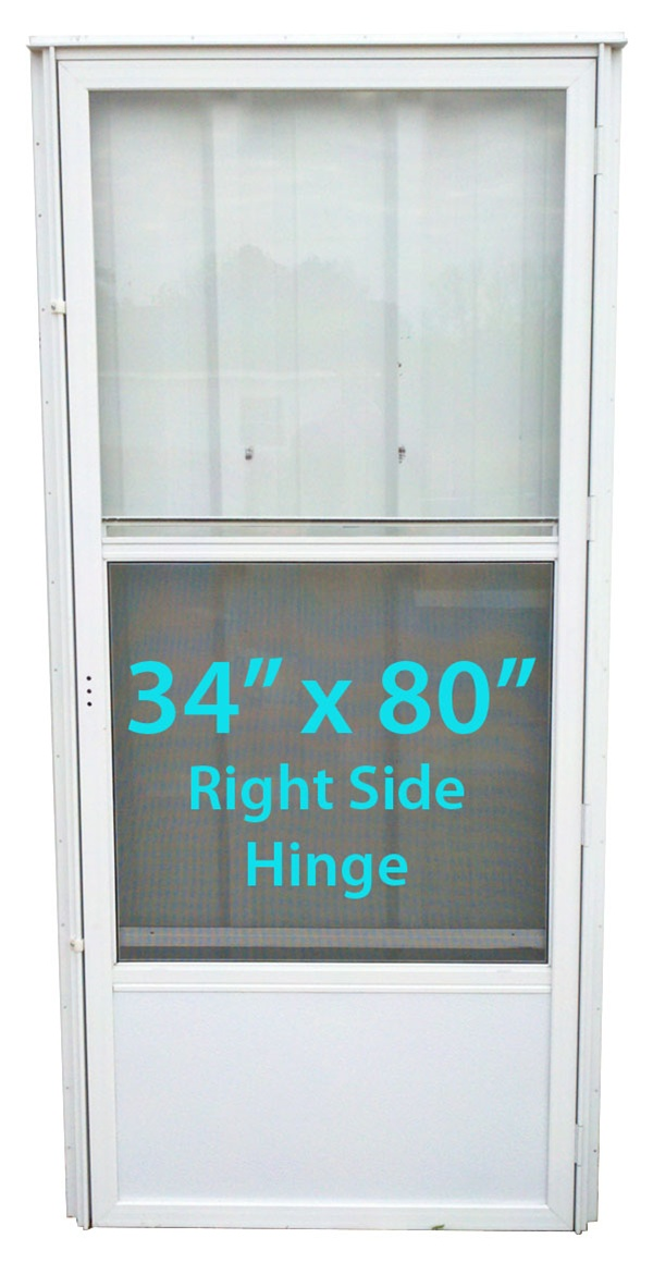 Mobile Home Standard Storm Door 34x80 Rh White With Screen