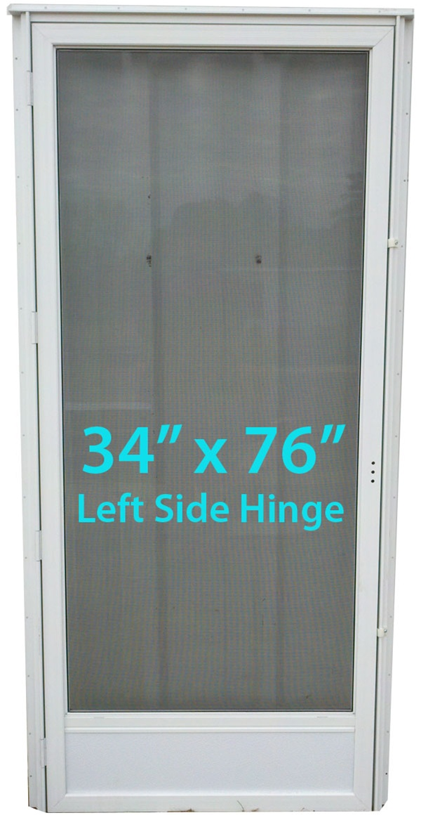 Mobile Home Full View Storm Door 34x76 Lh White With Screen