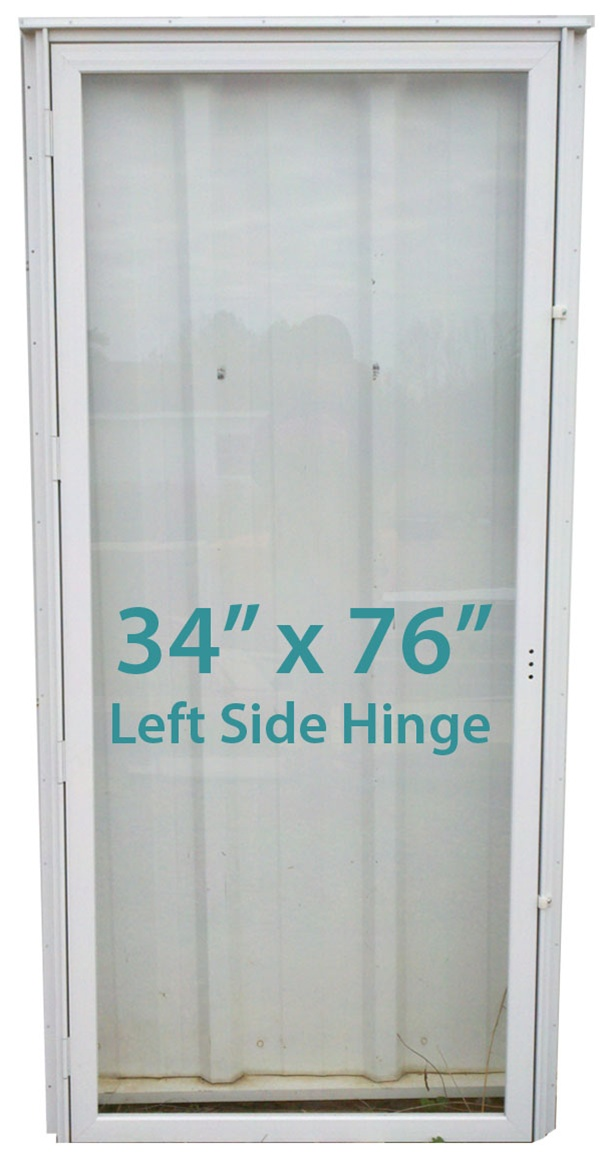 Mobile Home All Glass Storm Door 34x76 Lh White With Screen