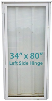 Mobile Home All Glass Storm Door 34x80 Lh White With Screen