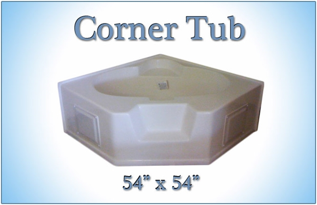 54 X 54 Fiberglass Replacement Corner Tub